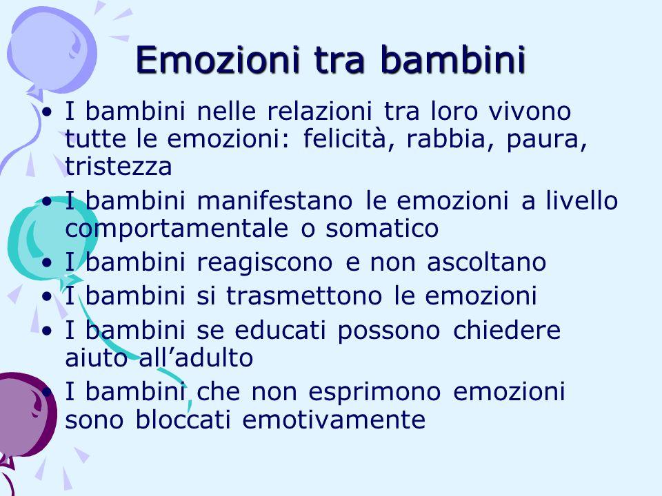 Emozioni tra bambini I bambini nelle relazioni tra loro vivono tutte le emozioni: felicità, rabbia, paura, tristezza.