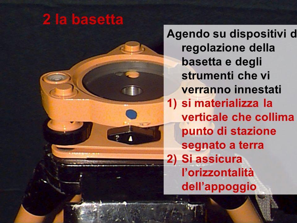 2 la basetta Agendo su dispositivi di regolazione della basetta e degli strumenti che vi verranno innestati.