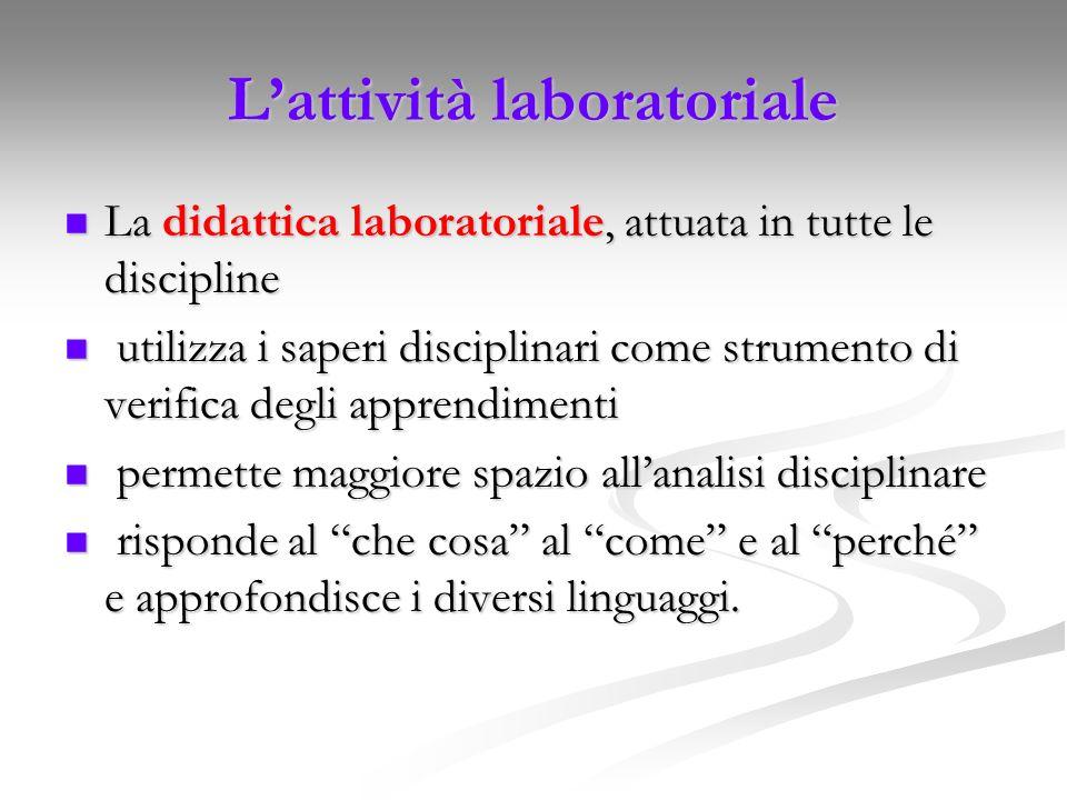 L'attività laboratoriale