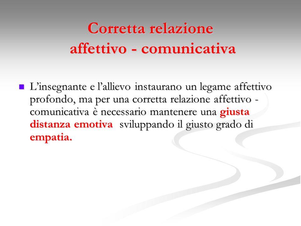 Corretta relazione affettivo - comunicativa