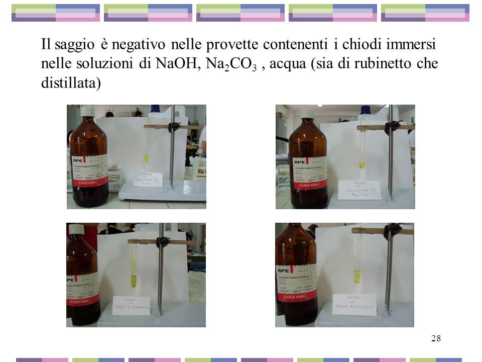 Il saggio è negativo nelle provette contenenti i chiodi immersi nelle soluzioni di NaOH, Na2CO3 , acqua (sia di rubinetto che distillata)