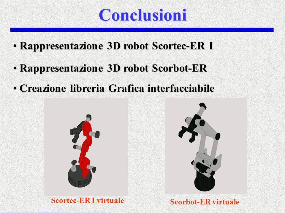 Conclusioni Rappresentazione 3D robot Scortec-ER I