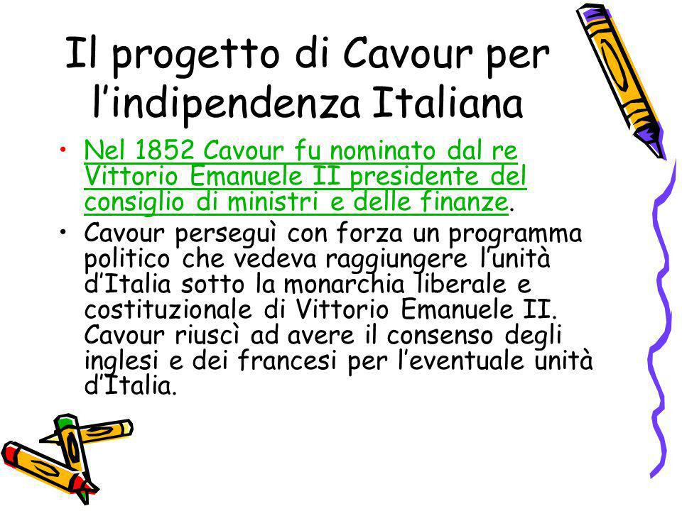 Il progetto di Cavour per l'indipendenza Italiana