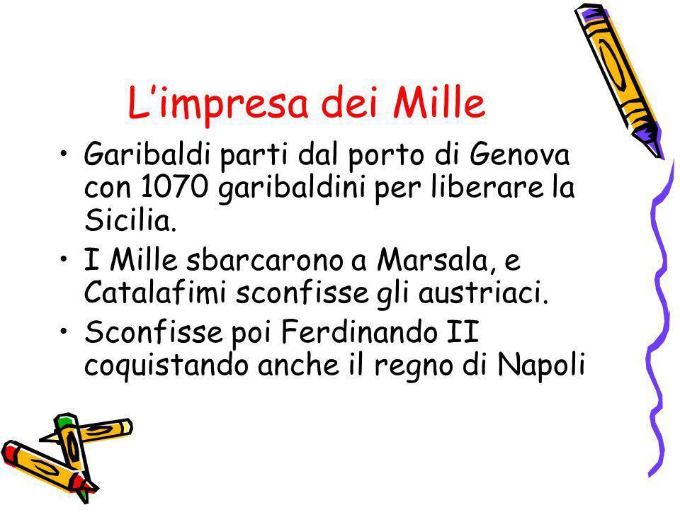 L'impresa dei Mille Garibaldi parti dal porto di Genova con 1070 garibaldini per liberare la Sicilia.