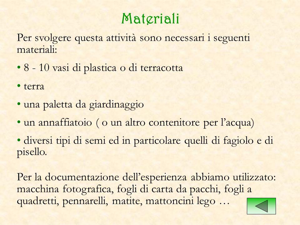 Materiali Per svolgere questa attività sono necessari i seguenti materiali: 8 - 10 vasi di plastica o di terracotta.