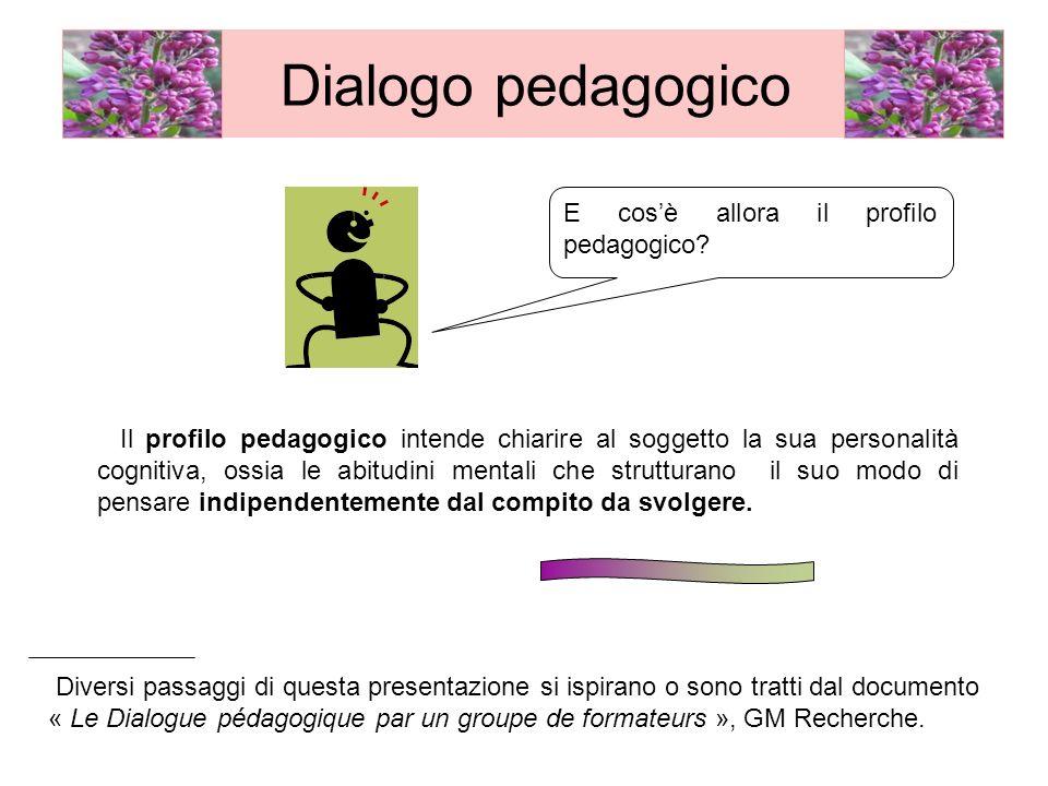 Dialogo pedagogico E cos'è allora il profilo pedagogico