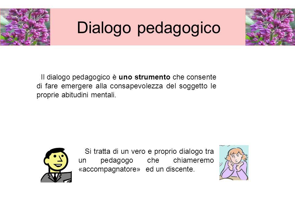 Dialogo pedagogicoIl dialogo pedagogico è uno strumento che consente di fare emergere alla consapevolezza del soggetto le proprie abitudini mentali.