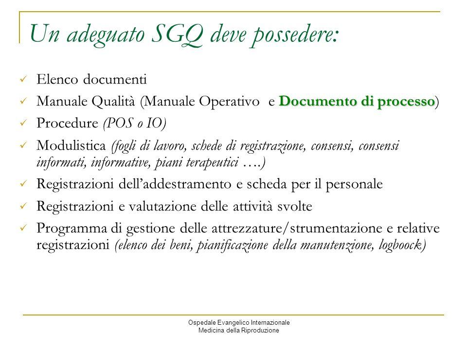 Un adeguato SGQ deve possedere: