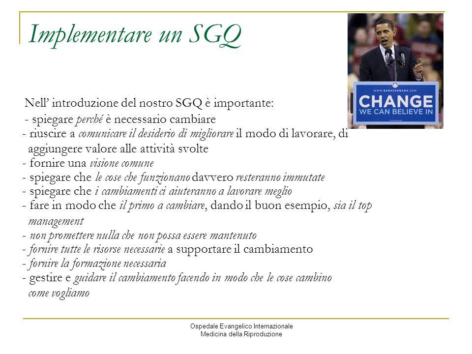 Implementare un SGQ Nell' introduzione del nostro SGQ è importante: