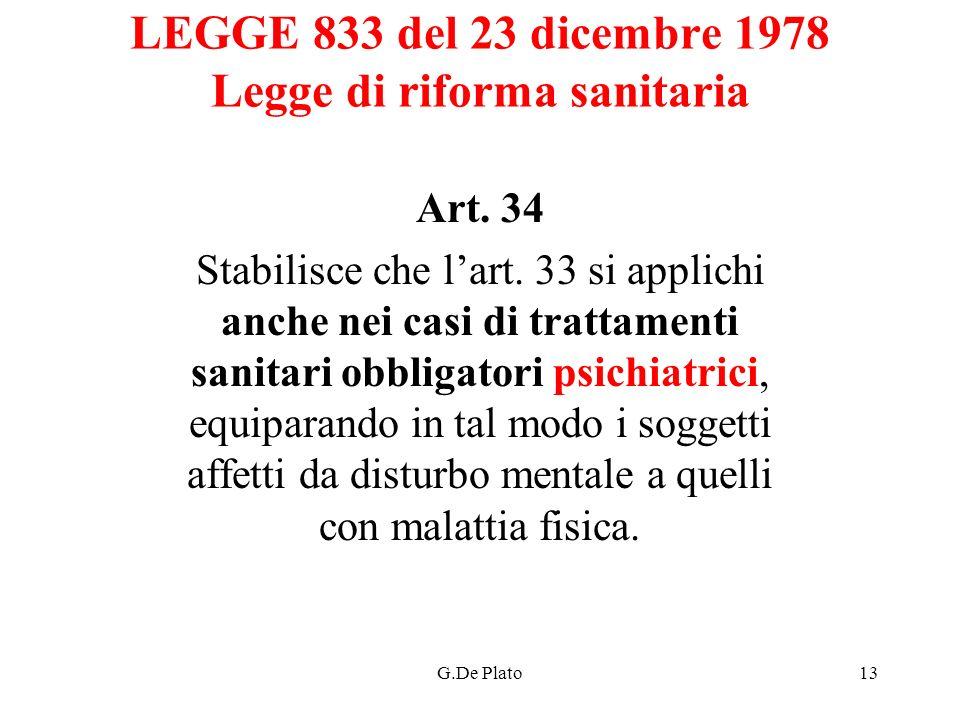 LEGGE 833 del 23 dicembre 1978 Legge di riforma sanitaria