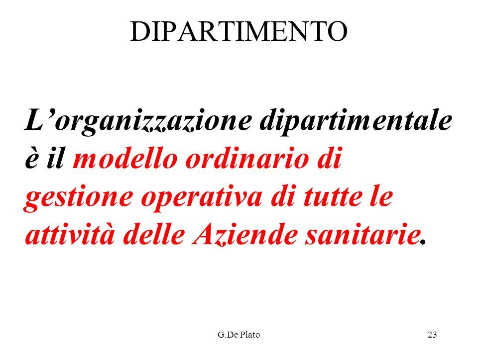 DIPARTIMENTO L'organizzazione dipartimentale è il modello ordinario di gestione operativa di tutte le attività delle Aziende sanitarie.