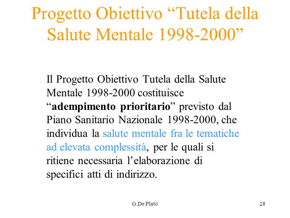 Progetto Obiettivo Tutela della Salute Mentale 1998-2000