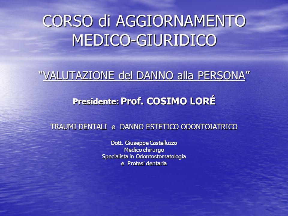 CORSO di AGGIORNAMENTO MEDICO-GIURIDICO VALUTAZIONE del DANNO alla PERSONA Presidente: Prof. COSIMO LORÉ