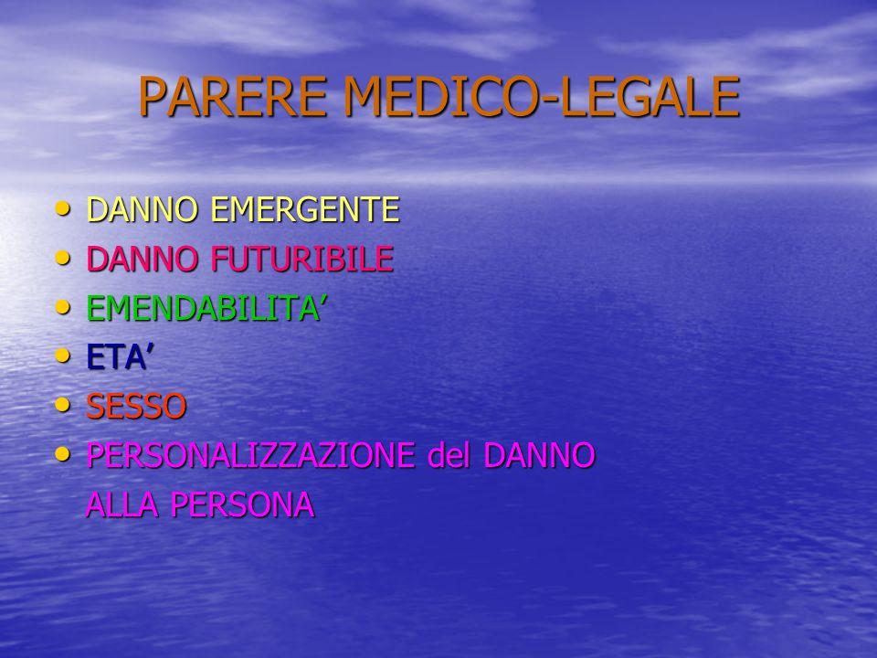 PARERE MEDICO-LEGALE DANNO EMERGENTE DANNO FUTURIBILE EMENDABILITA'