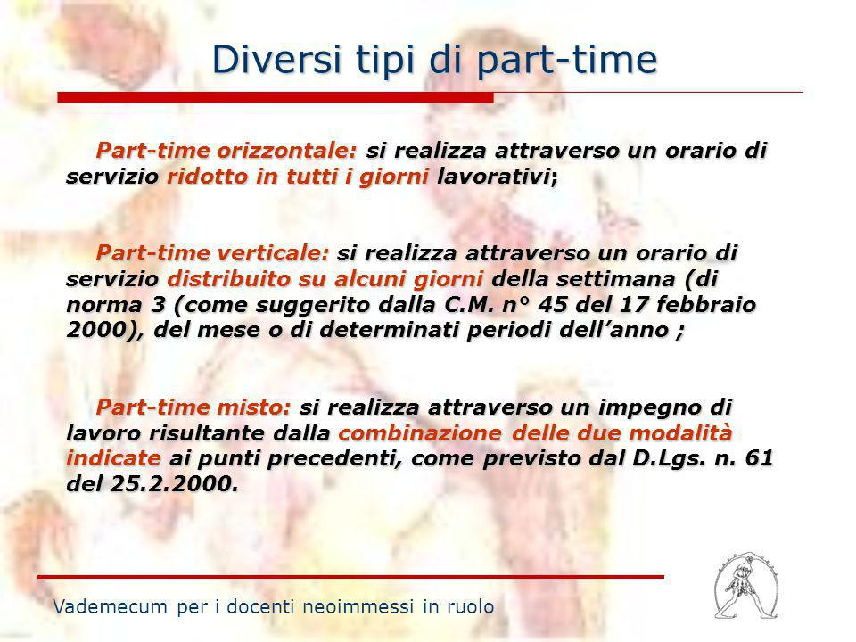 Diversi tipi di part-time
