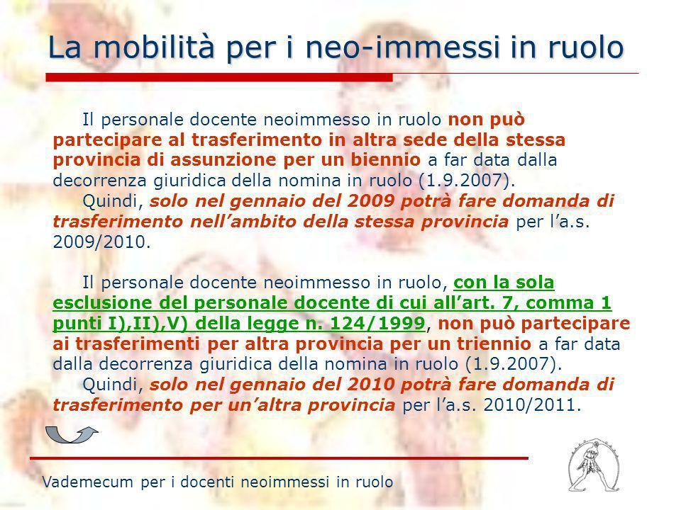 La mobilità per i neo-immessi in ruolo