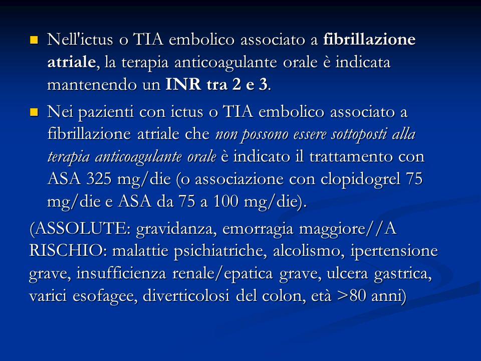 Nell ictus o TIA embolico associato a fibrillazione atriale, la terapia anticoagulante orale è indicata mantenendo un INR tra 2 e 3.