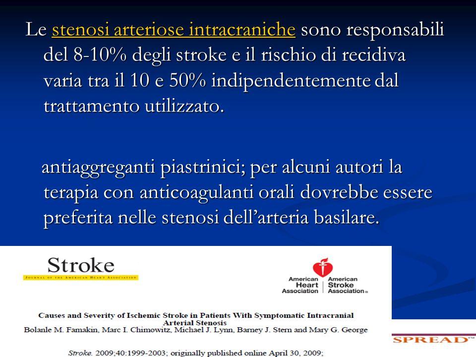 Le stenosi arteriose intracraniche sono responsabili del 8-10% degli stroke e il rischio di recidiva varia tra il 10 e 50% indipendentemente dal trattamento utilizzato.
