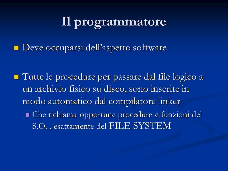 Il programmatore Deve occuparsi dell'aspetto software