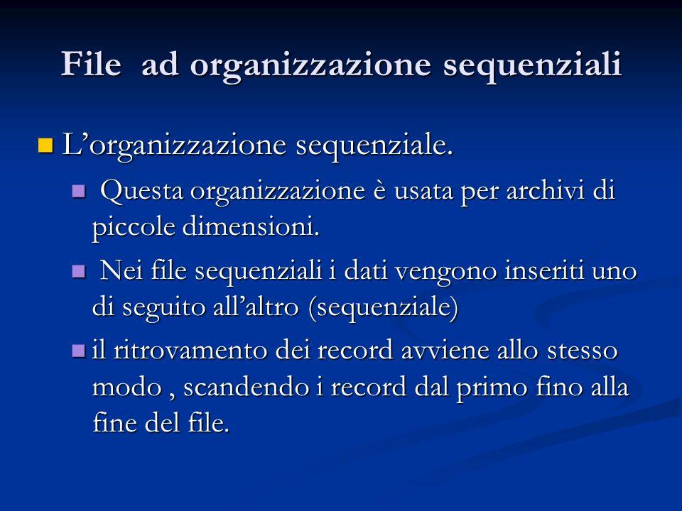File ad organizzazione sequenziali