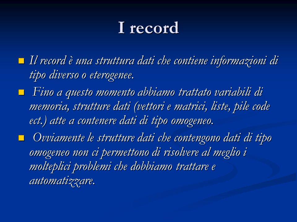 I record Il record è una struttura dati che contiene informazioni di tipo diverso o eterogenee.