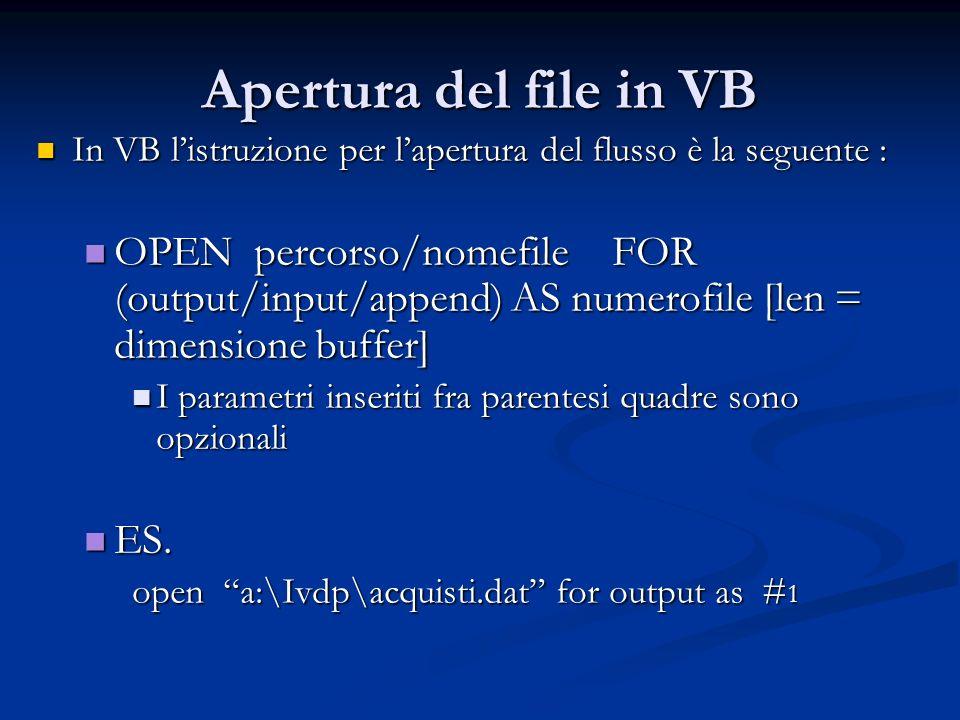 Apertura del file in VB In VB l'istruzione per l'apertura del flusso è la seguente :