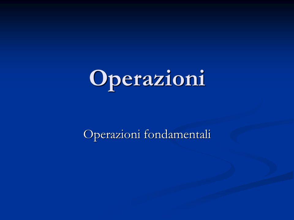 Operazioni fondamentali
