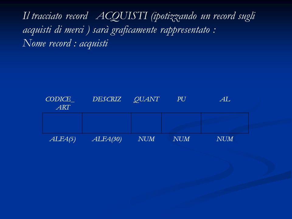Il tracciato record ACQUISTI (ipotizzando un record sugli acquisti di merci ) sarà graficamente rappresentato :