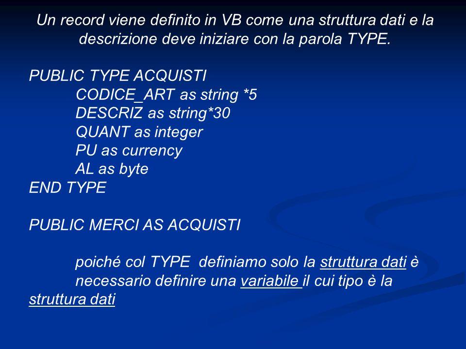 Un record viene definito in VB come una struttura dati e la descrizione deve iniziare con la parola TYPE.