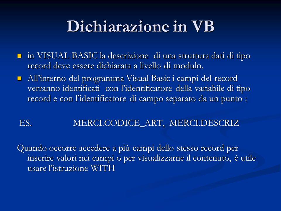 Dichiarazione in VB in VISUAL BASIC la descrizione di una struttura dati di tipo record deve essere dichiarata a livello di modulo.