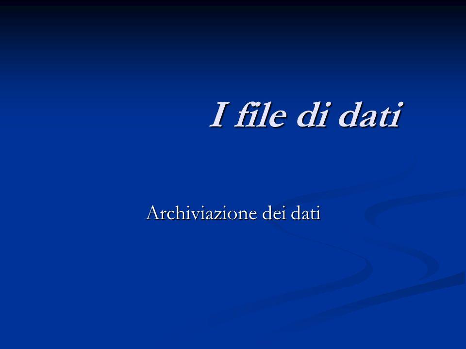 Archiviazione dei dati