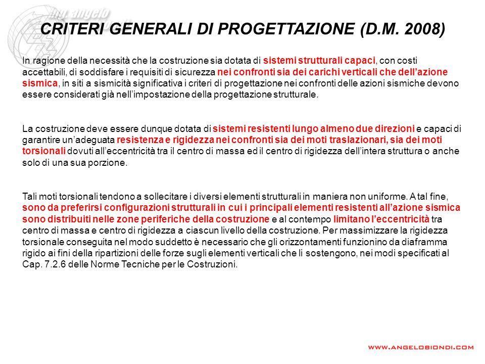 CRITERI GENERALI DI PROGETTAZIONE (D.M. 2008)