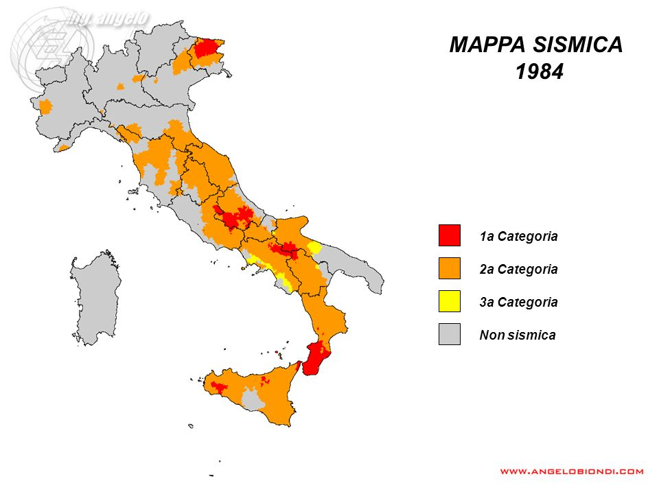 MAPPA SISMICA 1984 1a Categoria 2a Categoria 3a Categoria Non sismica