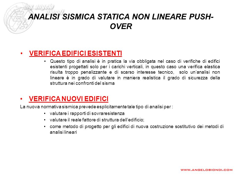 ANALISI SISMICA STATICA NON LINEARE PUSH-OVER