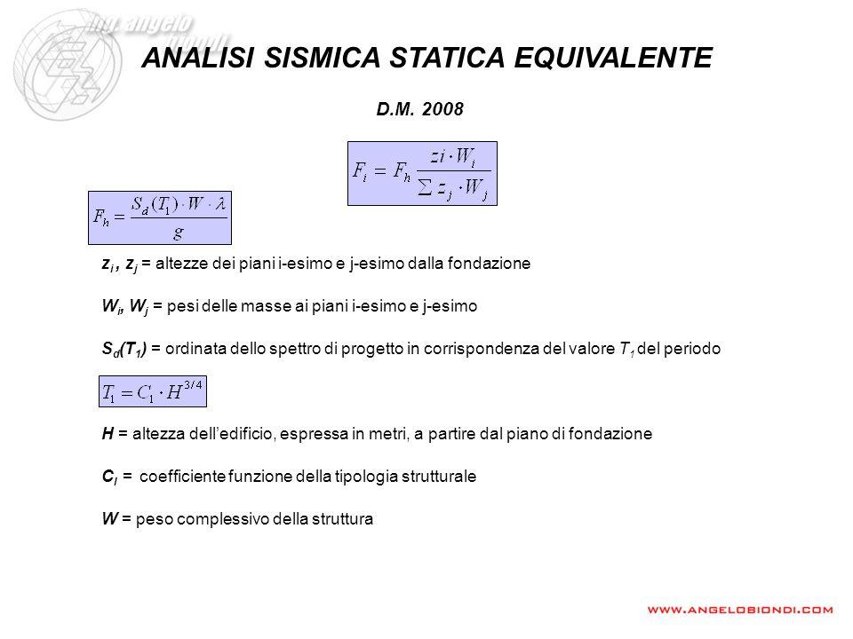 ANALISI SISMICA STATICA EQUIVALENTE