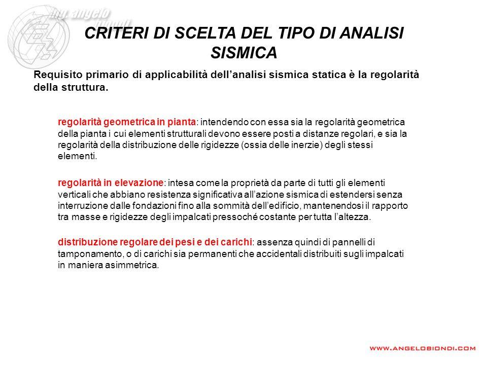 CRITERI DI SCELTA DEL TIPO DI ANALISI SISMICA