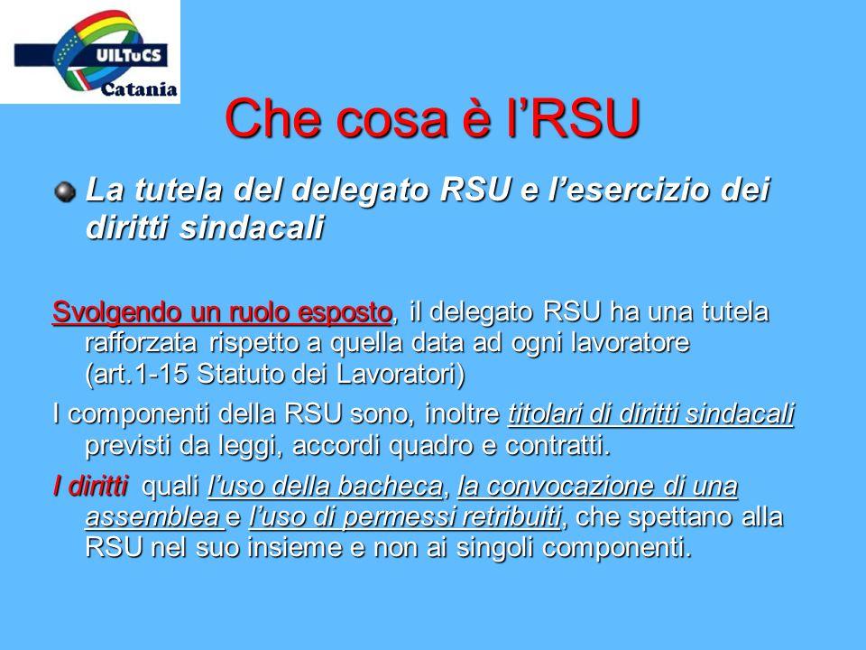 Che cosa è l'RSU La tutela del delegato RSU e l'esercizio dei diritti sindacali.