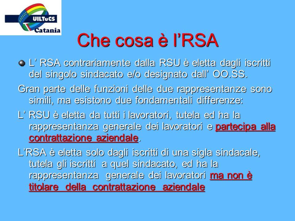 Che cosa è l'RSA L' RSA contrariamente dalla RSU è eletta dagli iscritti del singolo sindacato e/o designato dall' OO.SS.