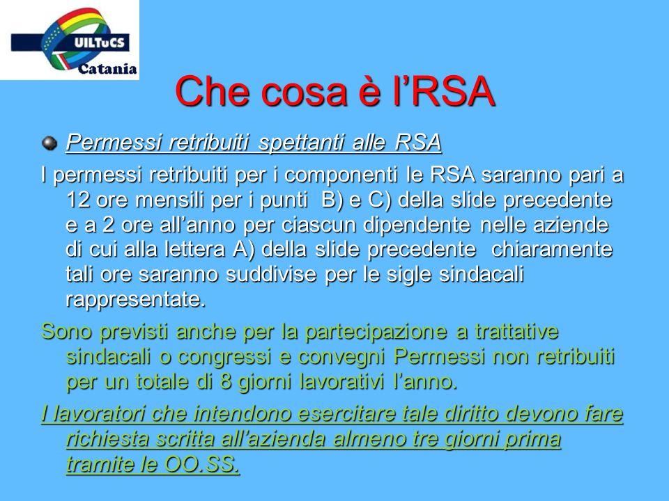Che cosa è l'RSA Permessi retribuiti spettanti alle RSA