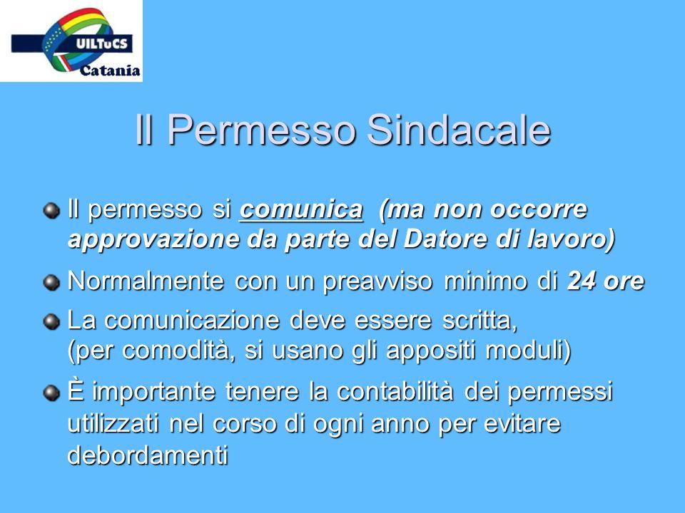Il Permesso Sindacale Il permesso si comunica (ma non occorre approvazione da parte del Datore di lavoro)