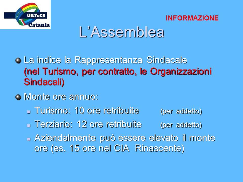 INFORMAZIONE L'Assemblea. La indice la Rappresentanza Sindacale (nel Turismo, per contratto, le Organizzazioni Sindacali)