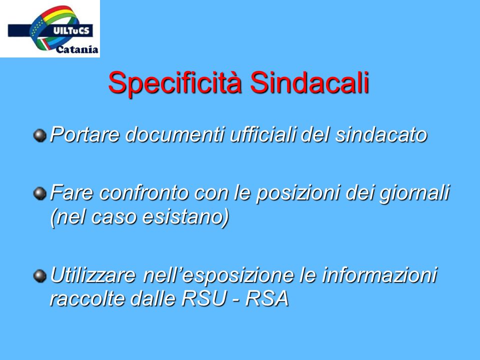 Specificità Sindacali