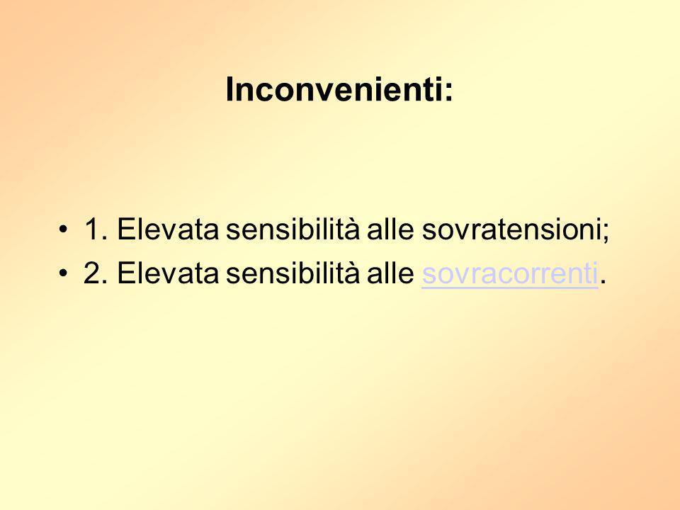 Inconvenienti: 1. Elevata sensibilità alle sovratensioni;