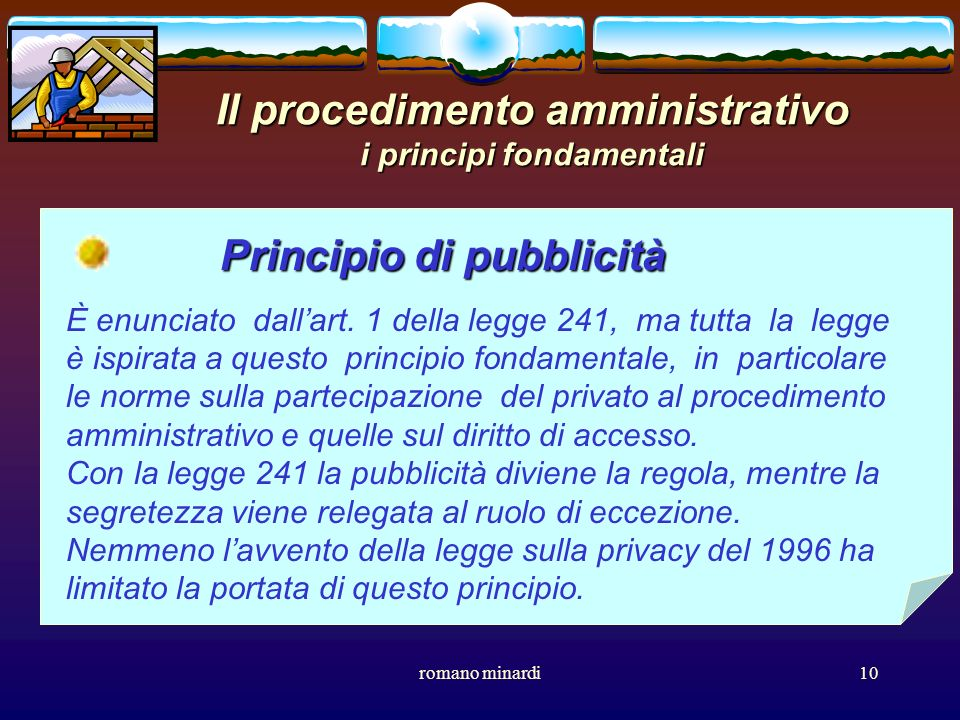 Il procedimento amministrativo i principi fondamentali