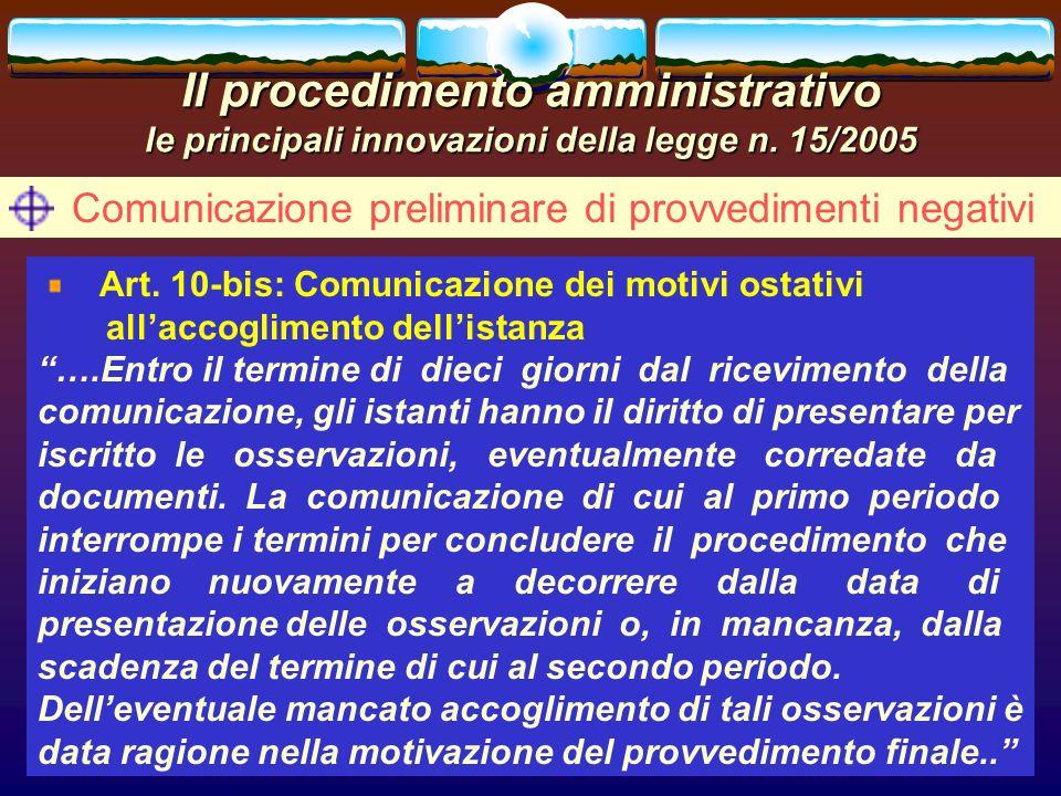 Comunicazione preliminare di provvedimenti negativi