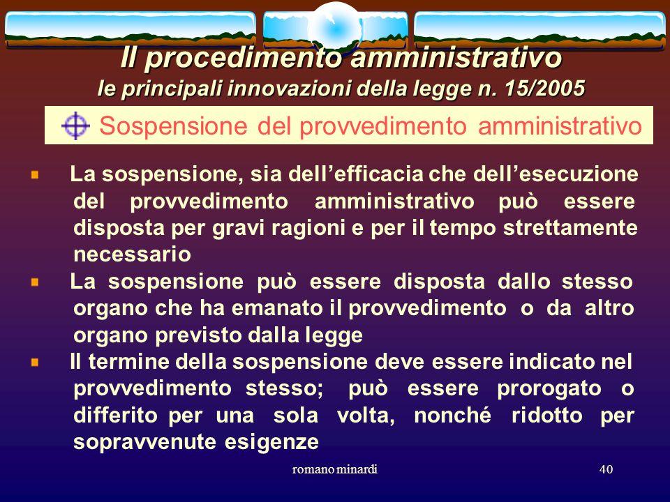 Sospensione del provvedimento amministrativo
