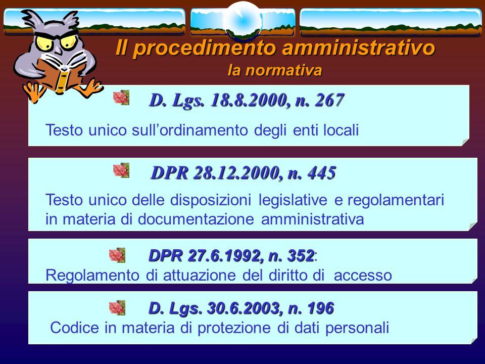 Il procedimento amministrativo la normativa