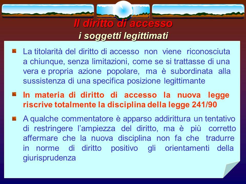 Il diritto di accesso i soggetti legittimati