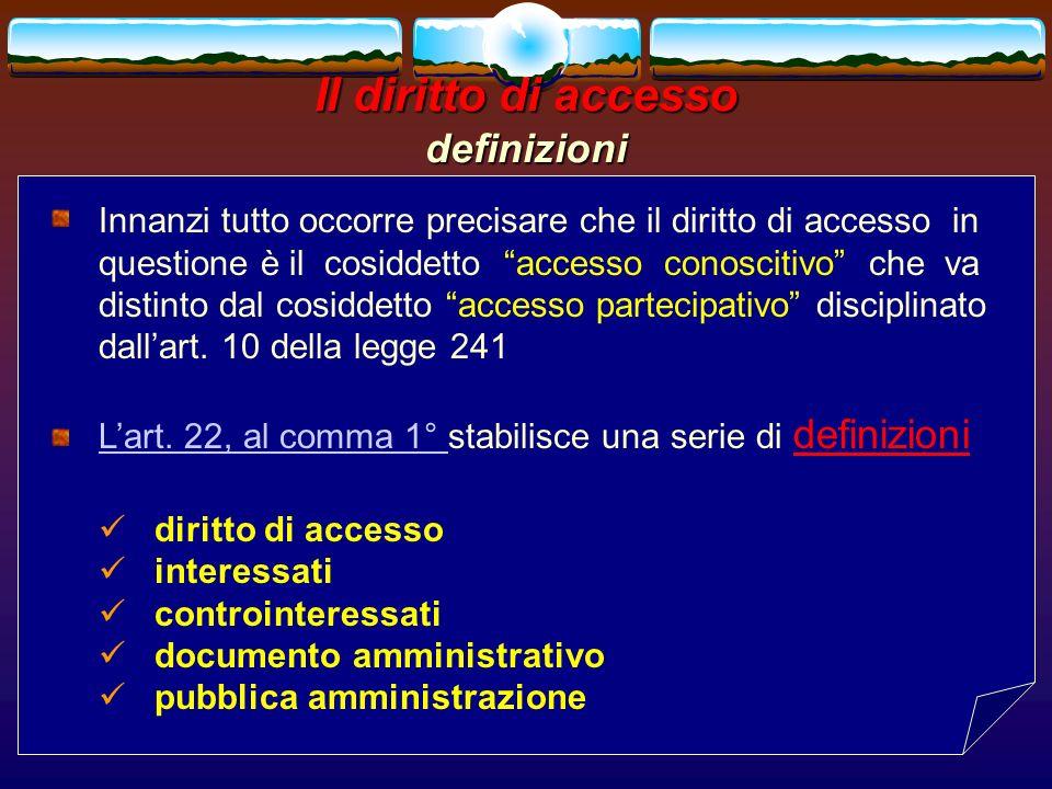 Il diritto di accesso definizioni