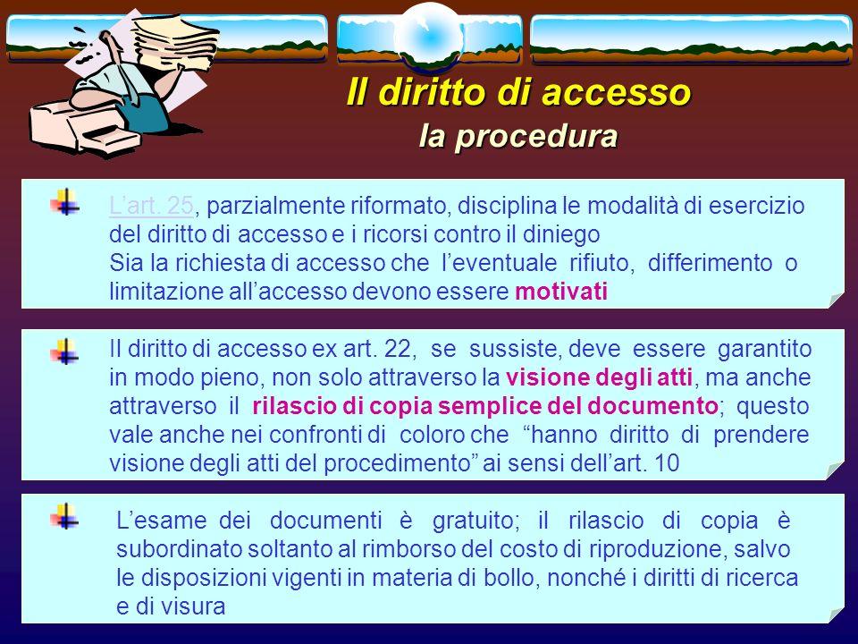 Il diritto di accesso la procedura